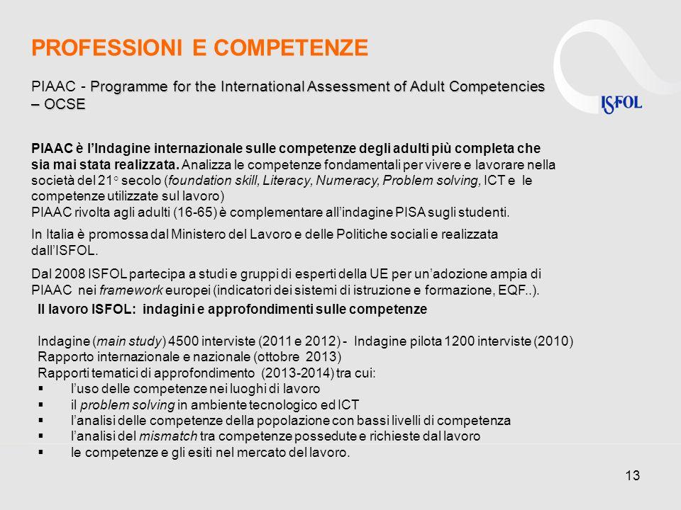 13 PIAAC è lIndagine internazionale sulle competenze degli adulti più completa che sia mai stata realizzata.