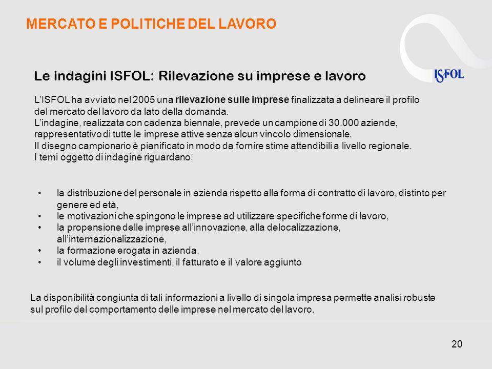 20 Le indagini ISFOL: Rilevazione su imprese e lavoro LISFOL ha avviato nel 2005 una rilevazione sulle imprese finalizzata a delineare il profilo del mercato del lavoro da lato della domanda.