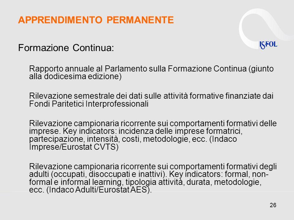 26 Formazione Continua: Rapporto annuale al Parlamento sulla Formazione Continua (giunto alla dodicesima edizione) Rilevazione semestrale dei dati sulle attività formative finanziate dai Fondi Paritetici Interprofessionali Rilevazione campionaria ricorrente sui comportamenti formativi delle imprese.