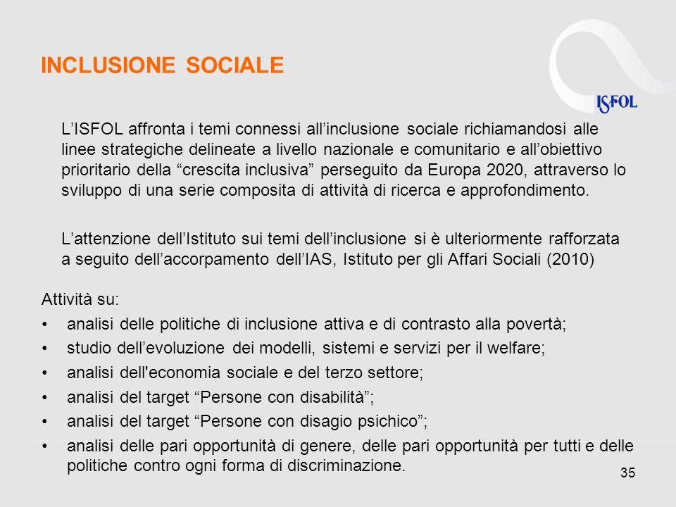 35 INCLUSIONE SOCIALE LISFOL affronta i temi connessi allinclusione sociale richiamandosi alle linee strategiche delineate a livello nazionale e comunitario e allobiettivo prioritario della crescita inclusiva perseguito da Europa 2020, attraverso lo sviluppo di una serie composita di attività di ricerca e approfondimento.