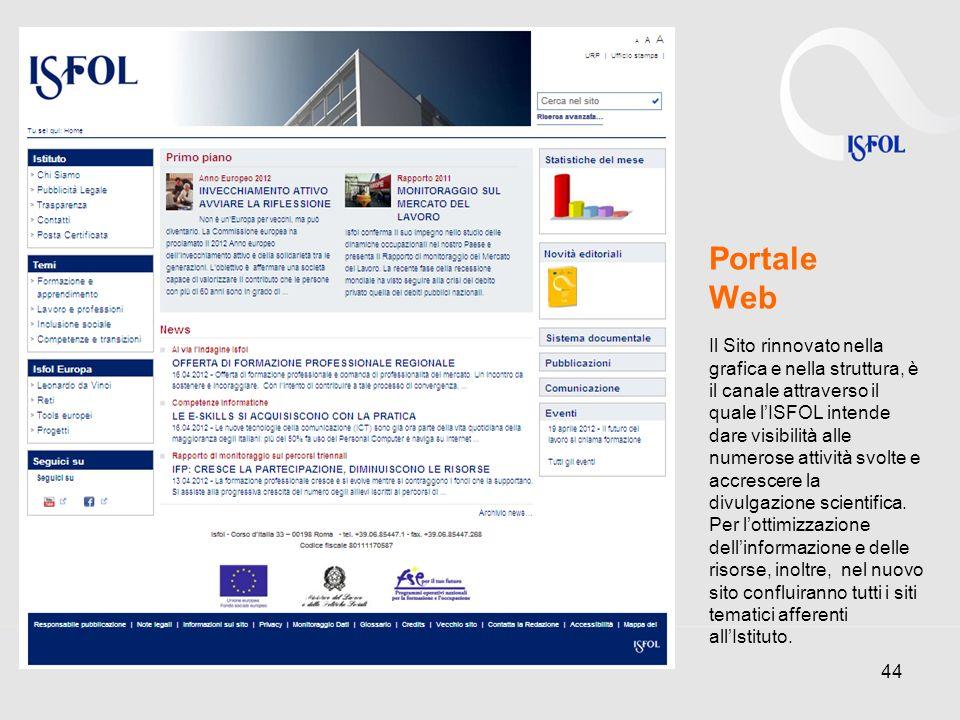 44 Portale Web Il Sito rinnovato nella grafica e nella struttura, è il canale attraverso il quale lISFOL intende dare visibilità alle numerose attività svolte e accrescere la divulgazione scientifica.
