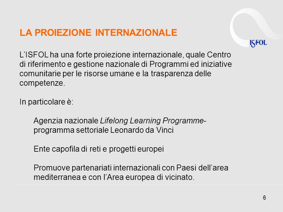 6 LA PROIEZIONE INTERNAZIONALE LISFOL ha una forte proiezione internazionale, quale Centro di riferimento e gestione nazionale di Programmi ed iniziative comunitarie per le risorse umane e la trasparenza delle competenze.
