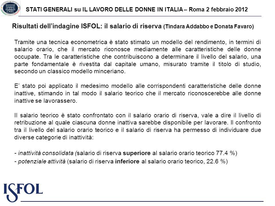 STATI GENERALI su IL LAVORO DELLE DONNE IN ITALIA – Roma 2 febbraio 2012 Risultati dellindagine ISFOL: il salario di riserva (Tindara Addabbo e Donata