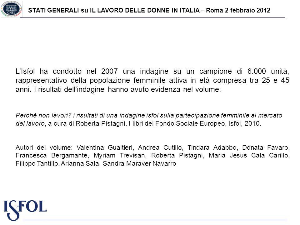 STATI GENERALI su IL LAVORO DELLE DONNE IN ITALIA – Roma 2 febbraio 2012 LIsfol ha condotto nel 2007 una indagine su un campione di 6.000 unità, rappr