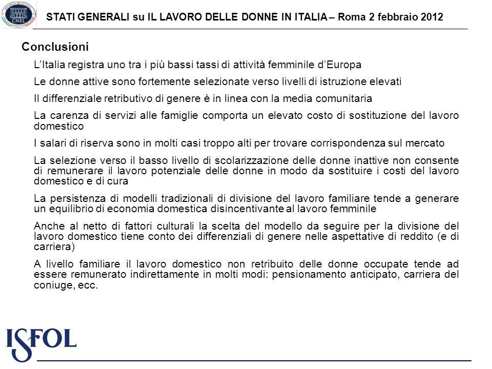 STATI GENERALI su IL LAVORO DELLE DONNE IN ITALIA – Roma 2 febbraio 2012 Conclusioni LItalia registra uno tra i più bassi tassi di attività femminile