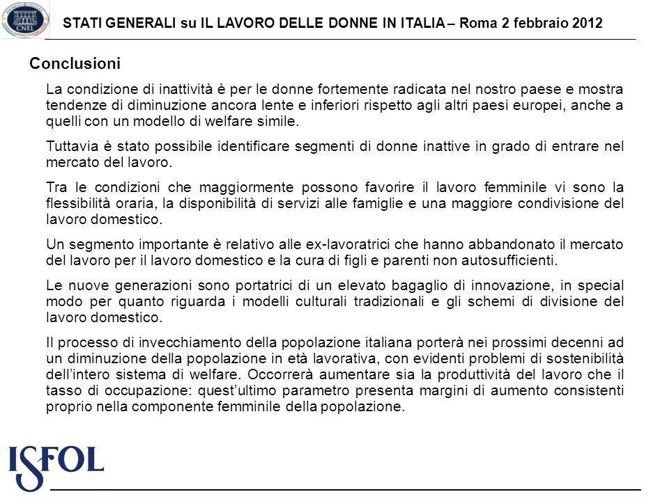 STATI GENERALI su IL LAVORO DELLE DONNE IN ITALIA – Roma 2 febbraio 2012 Conclusioni La condizione di inattività è per le donne fortemente radicata ne