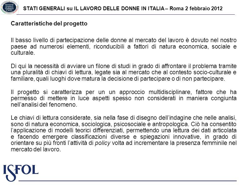 STATI GENERALI su IL LAVORO DELLE DONNE IN ITALIA – Roma 2 febbraio 2012 Caratteristiche del progetto Il basso livello di partecipazione delle donne a