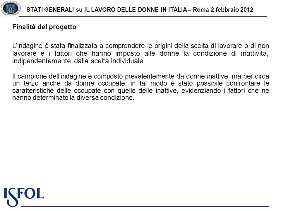 STATI GENERALI su IL LAVORO DELLE DONNE IN ITALIA – Roma 2 febbraio 2012 Finalità del progetto Lindagine è stata finalizzata a comprendere le origini