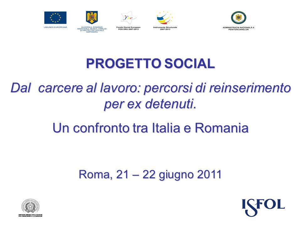 PROGETTO SOCIAL Dal carcere al lavoro: percorsi di reinserimento per ex detenuti. Un confronto tra Italia e Romania Roma, 21 – 22 giugno 2011