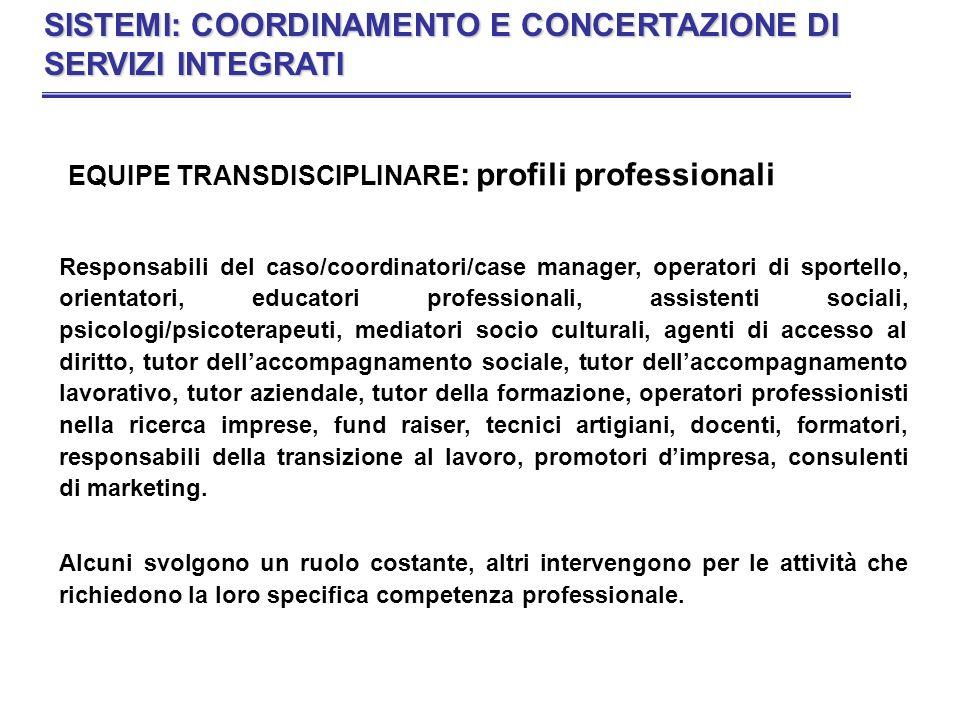 EQUIPE TRANSDISCIPLINARE : profili professionali Responsabili del caso/coordinatori/case manager, operatori di sportello, orientatori, educatori profe