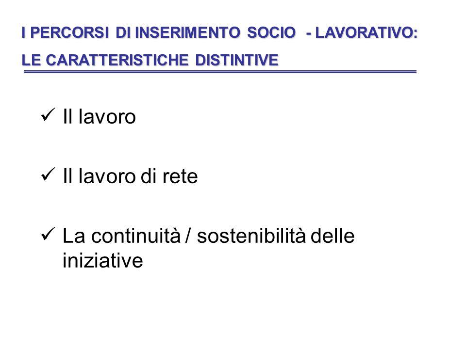 Il lavoro Il lavoro di rete La continuità / sostenibilità delle iniziative I PERCORSI DI INSERIMENTO SOCIO - LAVORATIVO: LE CARATTERISTICHE DISTINTIVE