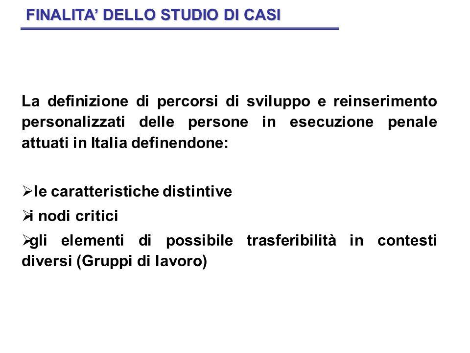 La definizione di percorsi di sviluppo e reinserimento personalizzati delle persone in esecuzione penale attuati in Italia definendone: le caratterist