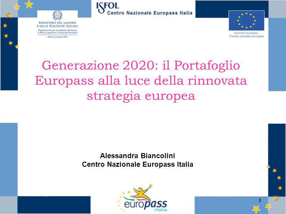 1 Generazione 2020: il Portafoglio Europass alla luce della rinnovata strategia europea Alessandra Biancolini Centro Nazionale Europass Italia