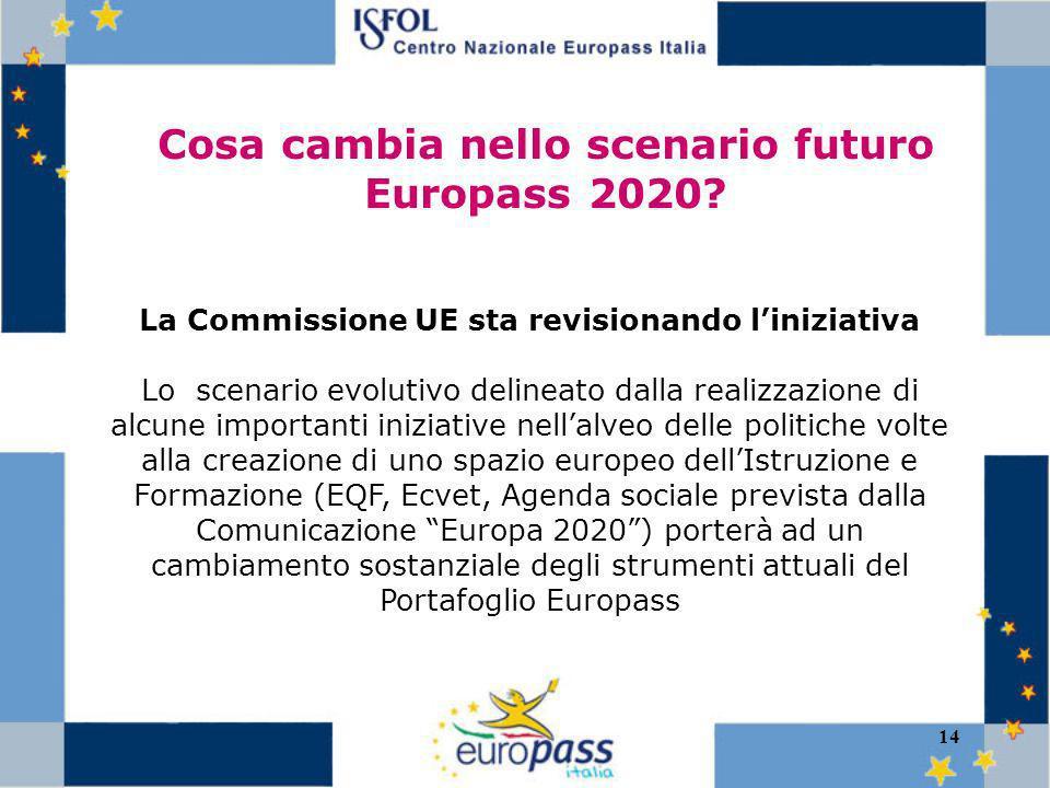 14 Cosa cambia nello scenario futuro Europass 2020.