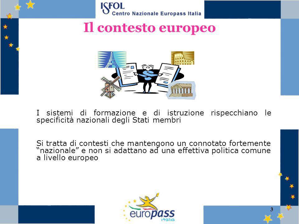 3 Il contesto europeo I sistemi di formazione e di istruzione rispecchiano le specificità nazionali degli Stati membri Si tratta di contesti che mantengono un connotato fortemente nazionale e non si adattano ad una effettiva politica comune a livello europeo