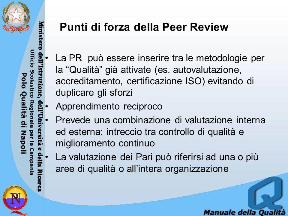 Punti di forza della Peer Review La PR può essere inserire tra le metodologie per la Qualità già attivate (es.