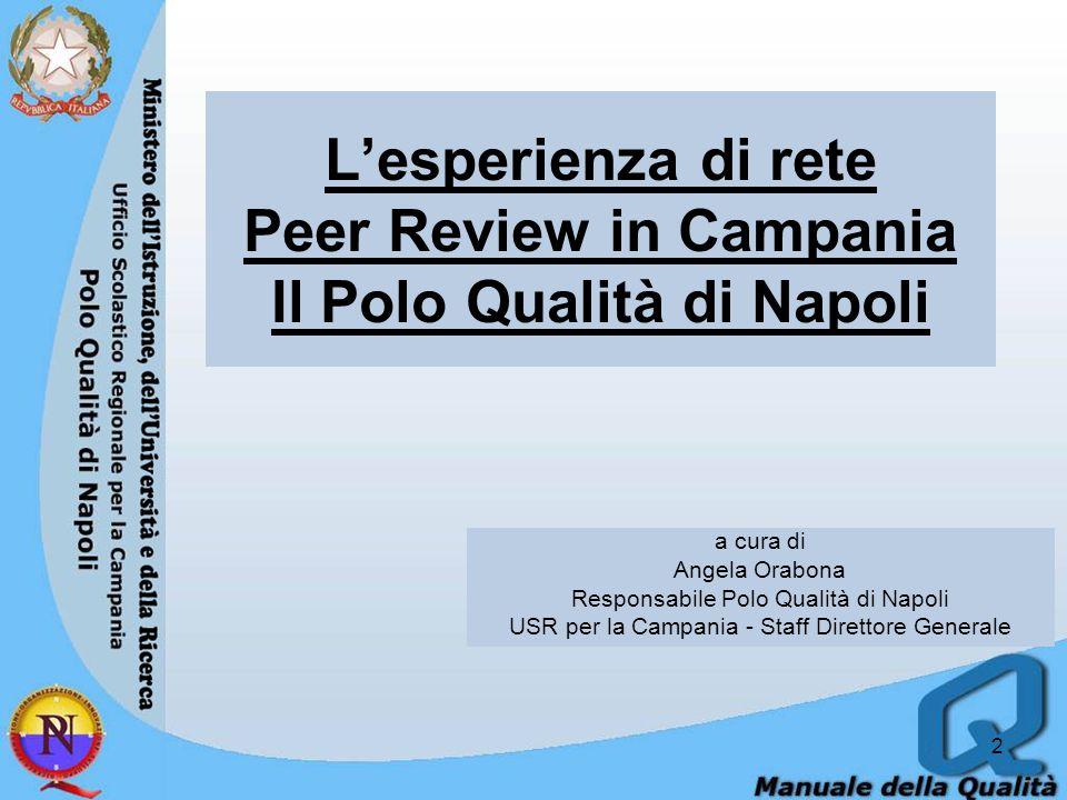 2 a cura di Angela Orabona Responsabile Polo Qualità di Napoli USR per la Campania - Staff Direttore Generale Lesperienza di rete Peer Review in Campania Il Polo Qualità di Napoli