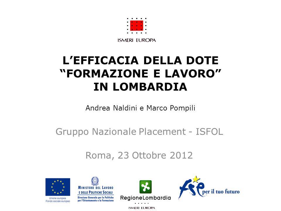 LEFFICACIA DELLA DOTE FORMAZIONE E LAVORO IN LOMBARDIA Andrea Naldini e Marco Pompili Gruppo Nazionale Placement - ISFOL Roma, 23 Ottobre 2012