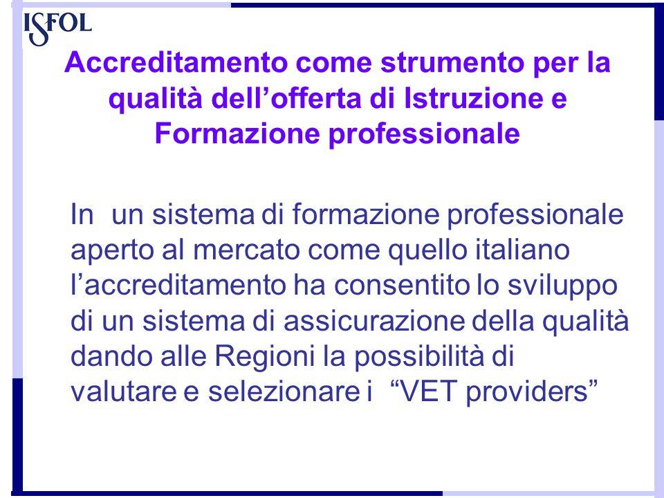 Accreditamento come strumento per la qualità dellofferta di Istruzione e Formazione professionale In un sistema di formazione professionale aperto al