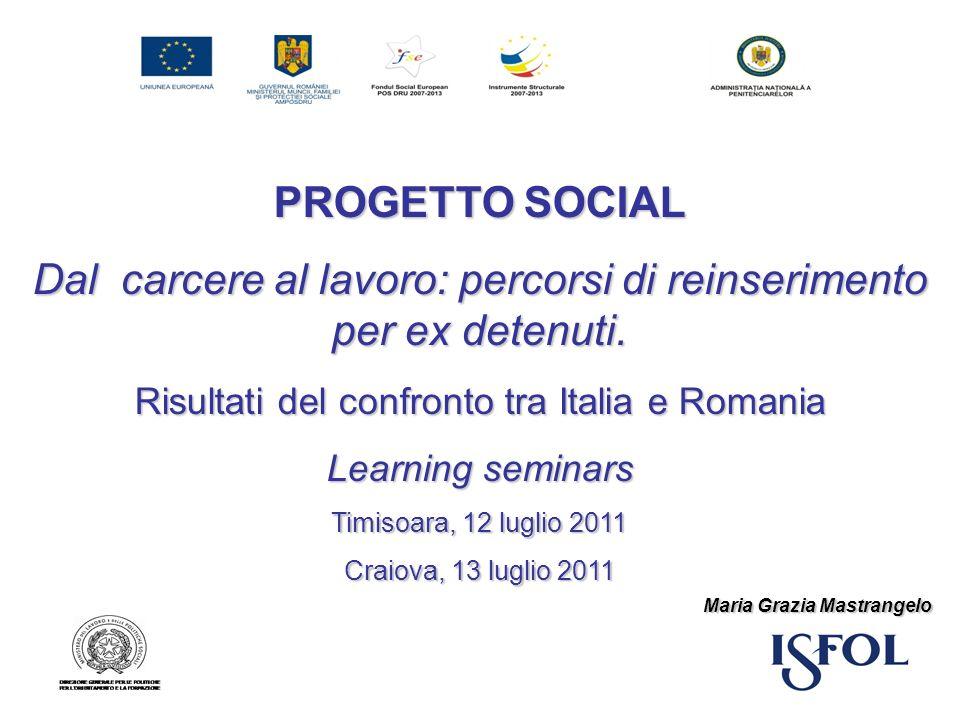PROGETTO SOCIAL Dal carcere al lavoro: percorsi di reinserimento per ex detenuti. Risultati del confronto tra Italia e Romania Learning seminars Timis