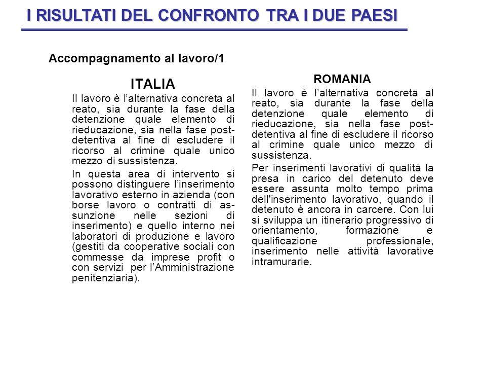 ITALIA Il lavoro è lalternativa concreta al reato, sia durante la fase della detenzione quale elemento di rieducazione, sia nella fase post- detentiva