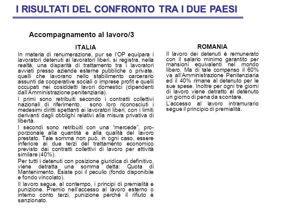 ITALIA In materia di renumerazione, pur se lOP equipara i lavoratori detenuti ai lavoratori liberi, si registra, nella realtà, una disparità di tratta