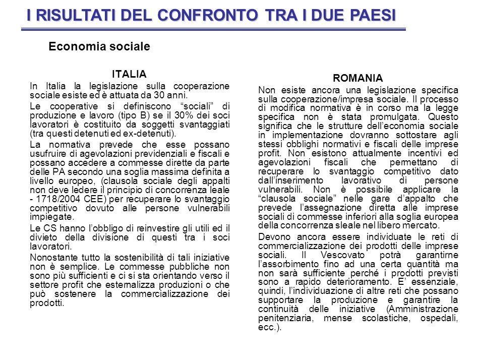 ITALIA In Italia la legislazione sulla cooperazione sociale esiste ed è attuata da 30 anni. Le cooperative si definiscono sociali di produzione e lavo