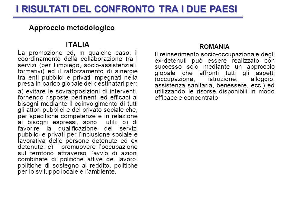 ITALIA La promozione ed, in qualche caso, il coordinamento della collaborazione tra i servizi (per limpiego, socio-assistenziali, formativi) ed il raf
