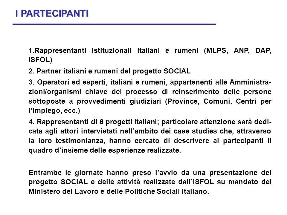 1.Rappresentanti Istituzionali italiani e rumeni (MLPS, ANP, DAP, ISFOL) 2. Partner italiani e rumeni del progetto SOCIAL 3. Operatori ed esperti, ita