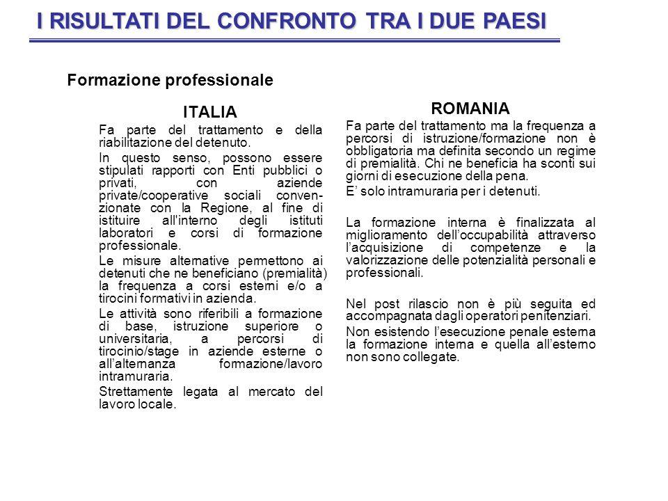 ITALIA Il lavoro è lalternativa concreta al reato, sia durante la fase della detenzione quale elemento di rieducazione, sia nella fase post- detentiva al fine di escludere il ricorso al crimine quale unico mezzo di sussistenza.
