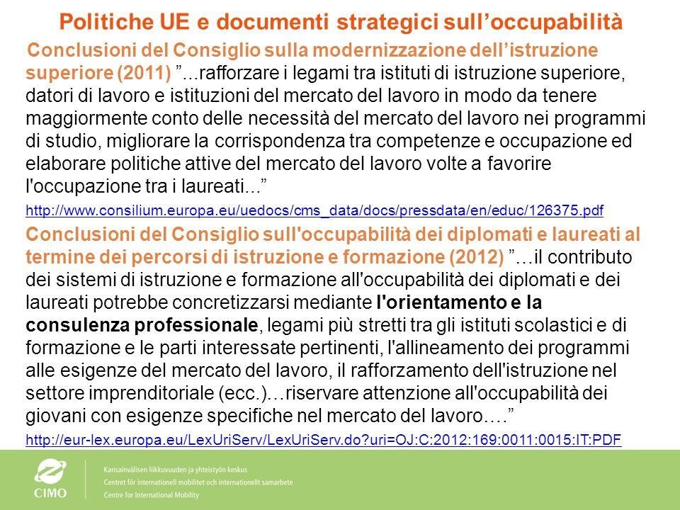 Politiche UE e documenti strategici sulloccupabilità Conclusioni del Consiglio su un quadro strategico per la cooperazione europea nel settore dellist
