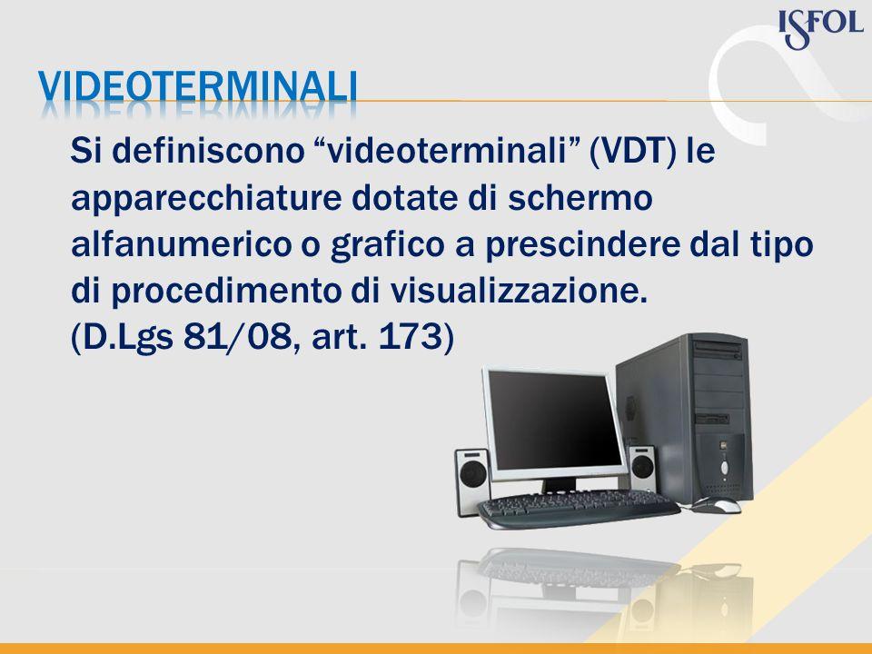 Si definiscono videoterminali (VDT) le apparecchiature dotate di schermo alfanumerico o grafico a prescindere dal tipo di procedimento di visualizzazi