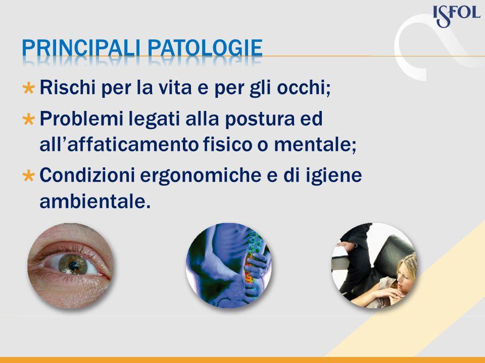 Rischi per la vita e per gli occhi; Problemi legati alla postura ed allaffaticamento fisico o mentale; Condizioni ergonomiche e di igiene ambientale.