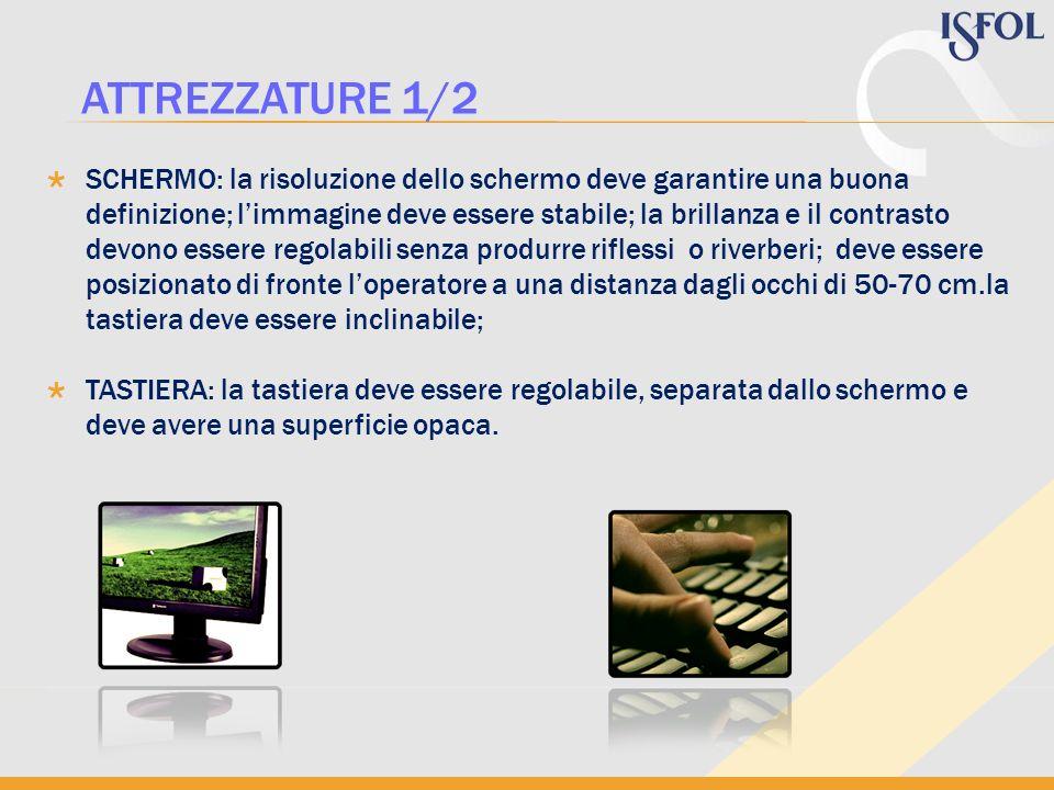 PIANO DI LAVORO: il piano di lavoro deve avere dimensioni sufficienti per una disposizione flessibile dello schermo, della tastiera, dei documenti e del materiale accessorio; laltezza deve essere indicativamente compresa fra 70 e 80 cm.