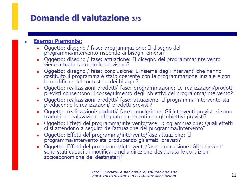 Isfol – Struttura nazionale di valutazione Fse AREA VALUTAZIONE POLITICHE RISORSE UMANE 11 Esempi Piemonte: Oggetto: disegno / fase: programmazione: I