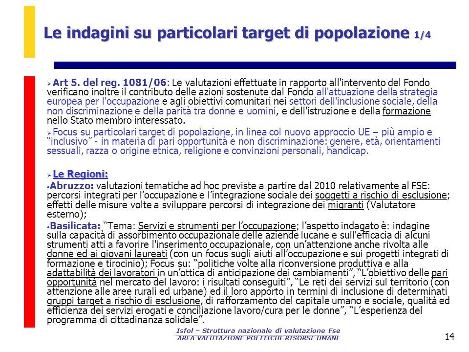 Isfol – Struttura nazionale di valutazione Fse AREA VALUTAZIONE POLITICHE RISORSE UMANE 14 Art 5. del reg. 1081/06: Le valutazioni effettuate in rappo
