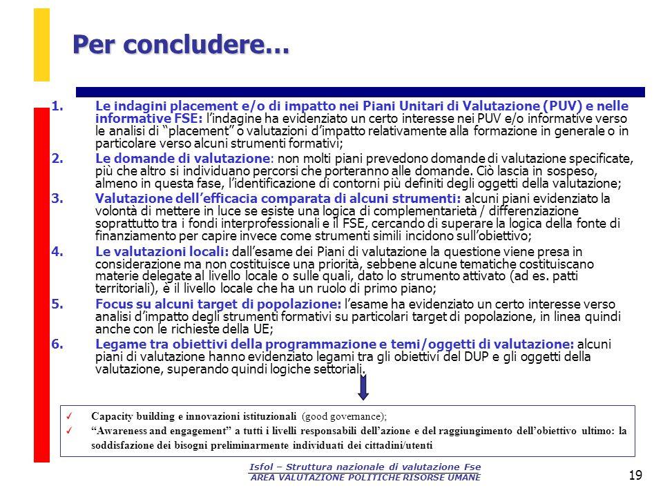 Isfol – Struttura nazionale di valutazione Fse AREA VALUTAZIONE POLITICHE RISORSE UMANE 19 Per concludere… 1.Le indagini placement e/o di impatto nei