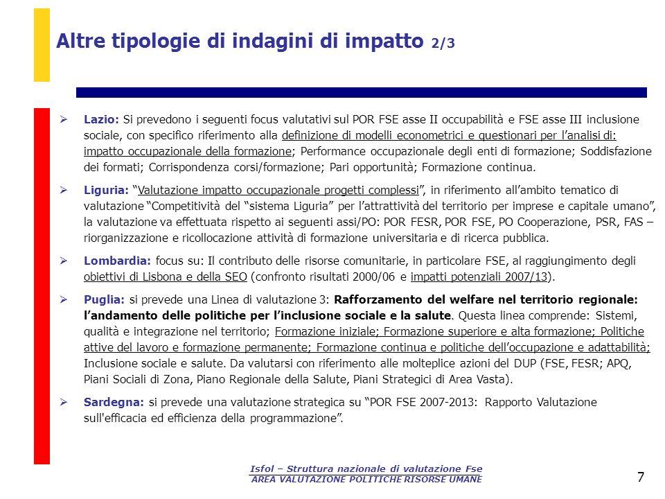 Isfol – Struttura nazionale di valutazione Fse AREA VALUTAZIONE POLITICHE RISORSE UMANE 7 Lazio: Si prevedono i seguenti focus valutativi sul POR FSE
