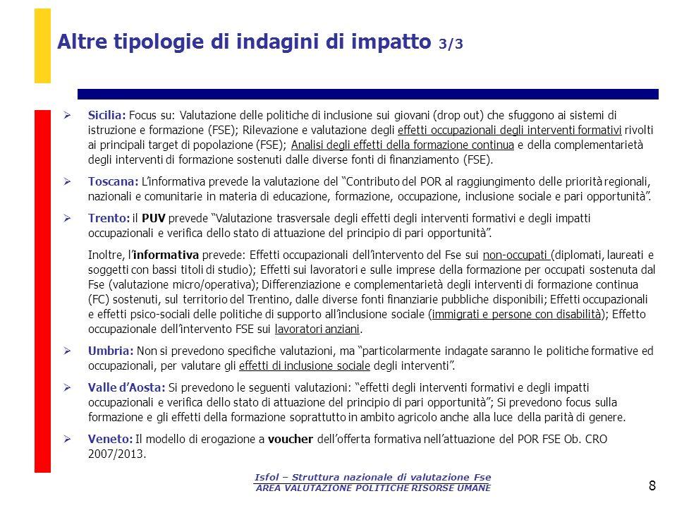 Isfol – Struttura nazionale di valutazione Fse AREA VALUTAZIONE POLITICHE RISORSE UMANE 8 Sicilia: Focus su: Valutazione delle politiche di inclusione