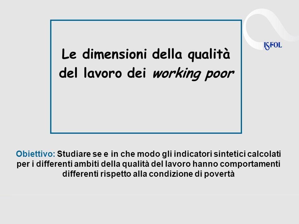 Le dimensioni della qualità del lavoro dei working poor Obiettivo: Studiare se e in che modo gli indicatori sintetici calcolati per i differenti ambiti della qualità del lavoro hanno comportamenti differenti rispetto alla condizione di povertà