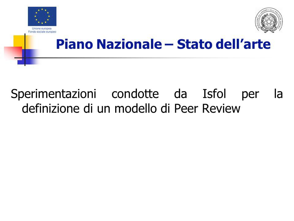 Sperimentazioni condotte da Isfol per la definizione di un modello di Peer Review Piano Nazionale – Stato dellarte