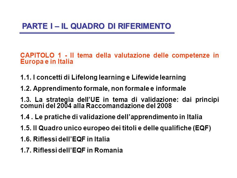CAPITOLO 1 - Il tema della valutazione delle competenze in Europa e in Italia 1.1. I concetti di Lifelong learning e Lifewide learning 1.2. Apprendime