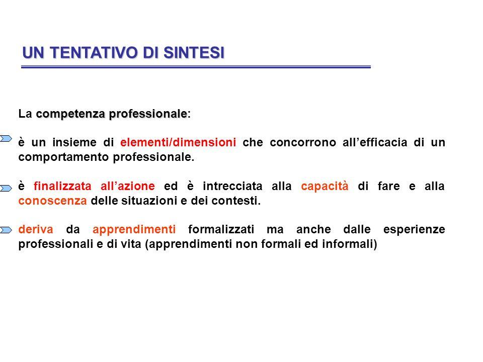 UN TENTATIVO DI SINTESI UN TENTATIVO DI SINTESI competenza professionale La competenza professionale: è un insieme di elementi/dimensioni che concorro