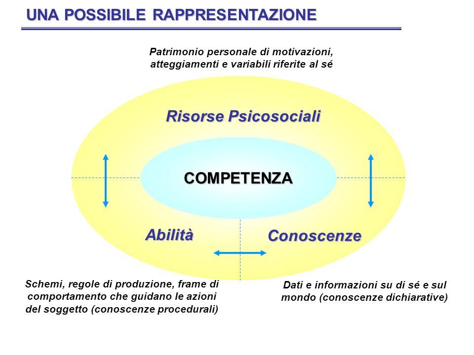 CONOSCENZEABILITÀ RISORSE PSICO- SOCIALI IL CIRCOLO DELLA COMPETENZA SOGGETTO COMPORTAMENTO ATTESO CONDIZIONI DI ESERCIZIO AMBIENTEORGANIZZAZIONE RICHIESTE DEL CONTESTO LAVORATIVO CONTESTO ORGANIZZATIVO PRESTAZIONE LAVORATIVA