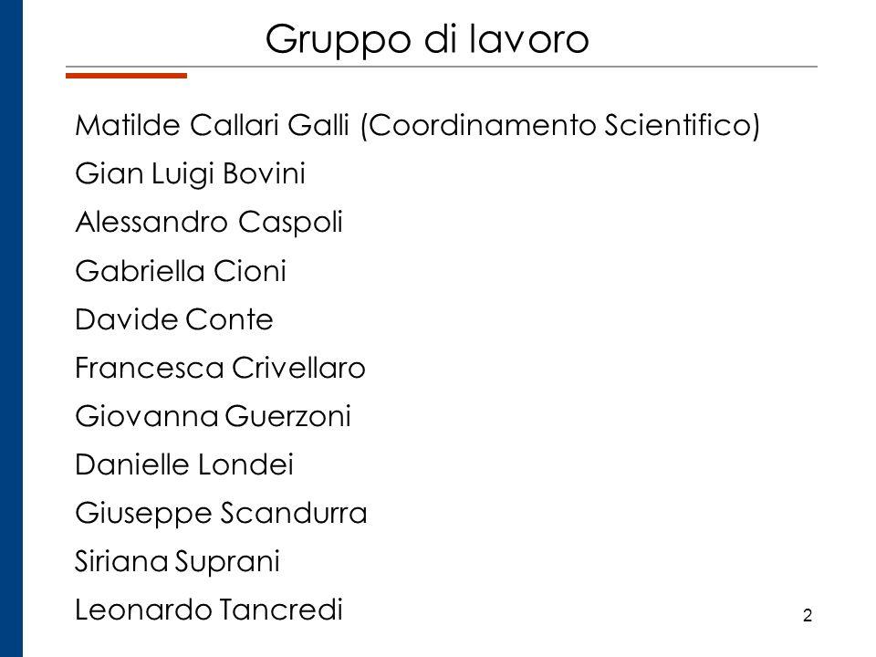 2 Gruppo di lavoro Matilde Callari Galli (Coordinamento Scientifico) Gian Luigi Bovini Alessandro Caspoli Gabriella Cioni Davide Conte Francesca Crive
