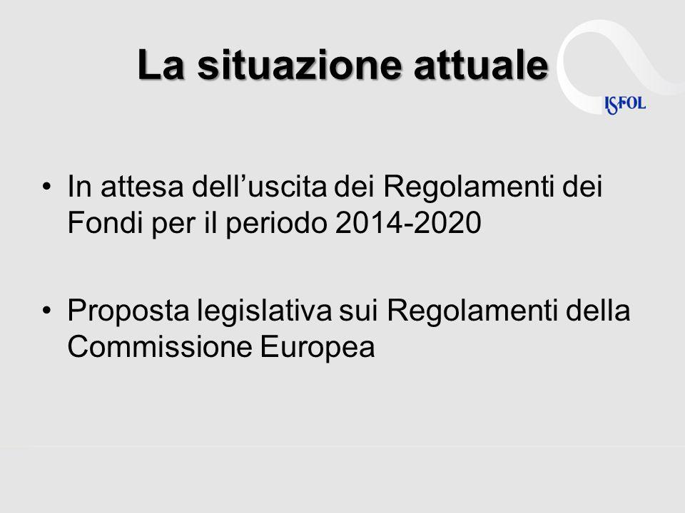 La situazione attuale In attesa delluscita dei Regolamenti dei Fondi per il periodo 2014-2020 Proposta legislativa sui Regolamenti della Commissione E
