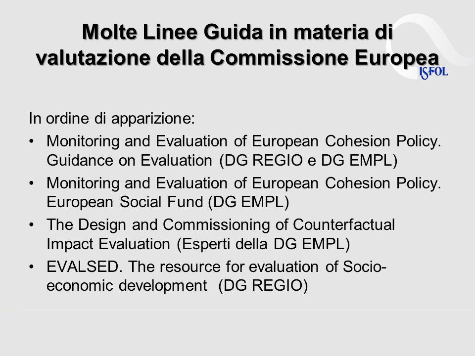 Molte Linee Guida in materia di valutazione della Commissione Europea In ordine di apparizione: Monitoring and Evaluation of European Cohesion Policy.