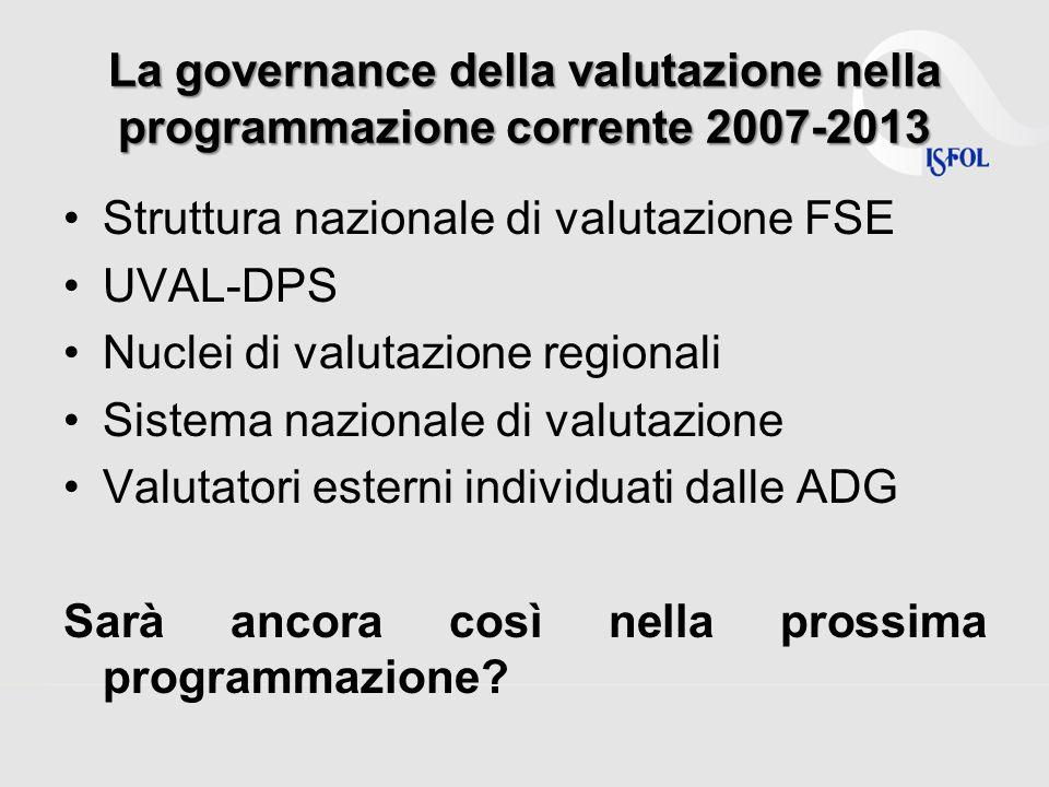 La governance della valutazione nella programmazione corrente 2007-2013 Struttura nazionale di valutazione FSE UVAL-DPS Nuclei di valutazione regional