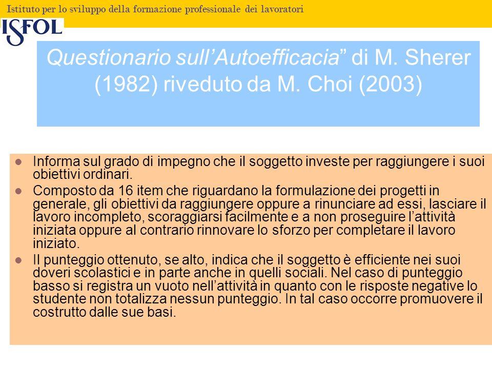 Fare clic per modificare lo stile del titolo Istituto per lo sviluppo della formazione professionale dei lavoratori Questionario sullAutoefficacia di M.