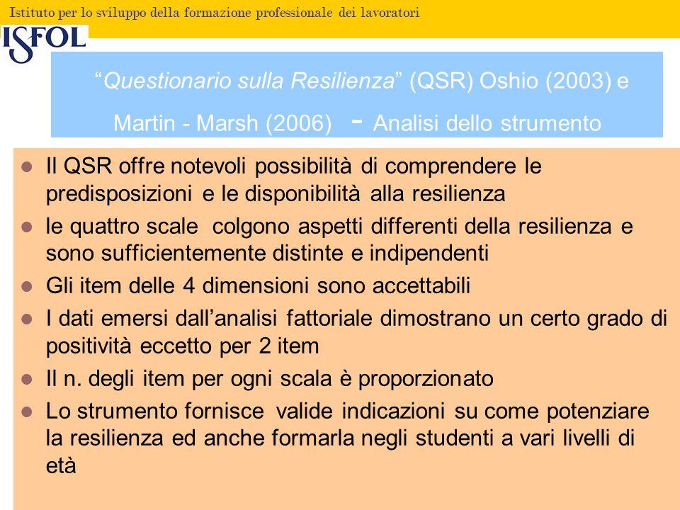 Fare clic per modificare lo stile del titolo Istituto per lo sviluppo della formazione professionale dei lavoratori Questionario sulla Resilienza (QSR) Oshio (2003) e Martin - Marsh (2006) Dallanalisi fattoriale sono emerse 4 dimensioni Fiducia nel futuro.